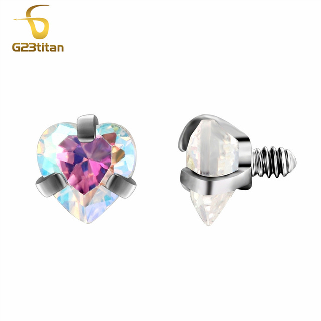 G23titan Body Piercing Ball 16G Internally Threaded Heart Style Lip Eyebrow Tongue Belly Navel Ring Body Jewelry Piercing Parts 4