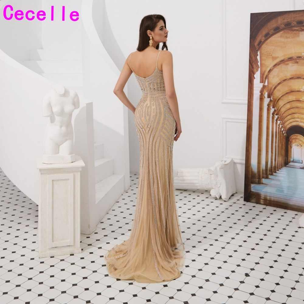a032aaaad79 Gold Sequins Mermaid Dubai Women Luxury Evening Dresses 2019 Sweetheart  Lady Sparkly Formal Party Dress Reception Gowns