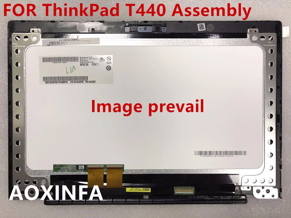 free shipping Original New LCD display(B140RTN03.0 30pin) with Touch Panel Assembly for Lenovo ThinkPad T440 1600*900 with Bezel free shipping assembly display lcd