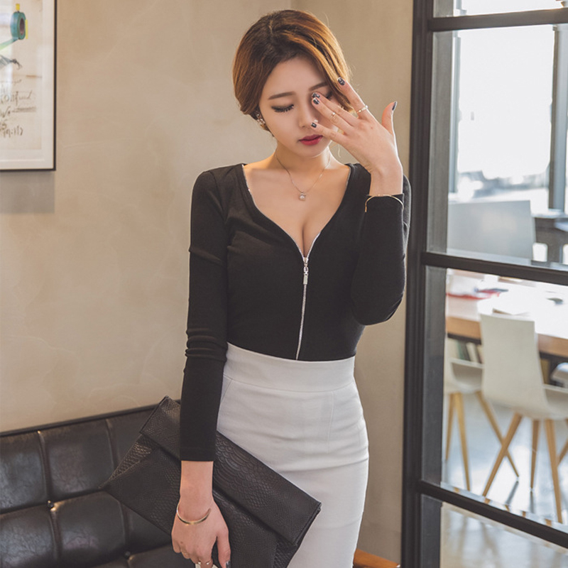 Long Sleeve Tshirt Women Clothes 2018 T-Shirt Femme Sexy Top Escote V Profundo Woman Tshirts Black Blusa Zipper Womens Clothing