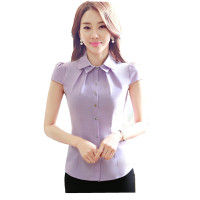 OL Office Women Shirts Blouses Slim Short Sleeve Elegant Ladies Chiffon Blouse Womens Tops Chemise Femme