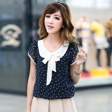 2016 Summer Casual Chiffon Shirts Dot Doll Collar Short Sleeve Tops Blouse Women Solid Tops Plus
