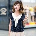 Fanala mulheres blusas de chiffon blusa mulheres verão doce dot gola boneca camisa de manga curta top feminino blusa plus size m-xxl