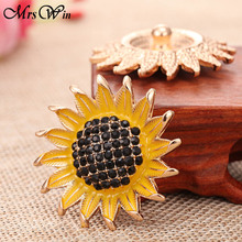 2018 New Snap Jewelry High Quality Big Crystal Sunflower 18mm 20mm Snap  Button Bracelet DIY Ginger 476ee4a901f4