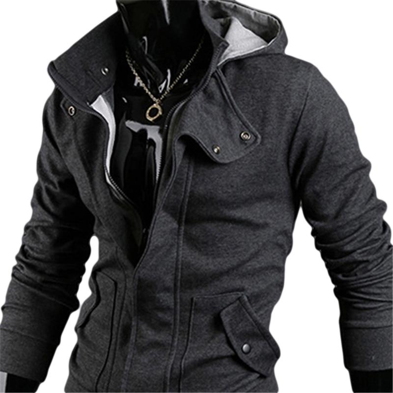 Men Fashion Casual Long Sleeve Slim Zipper Cardigan Hooded Hoodie Jacket Coat
