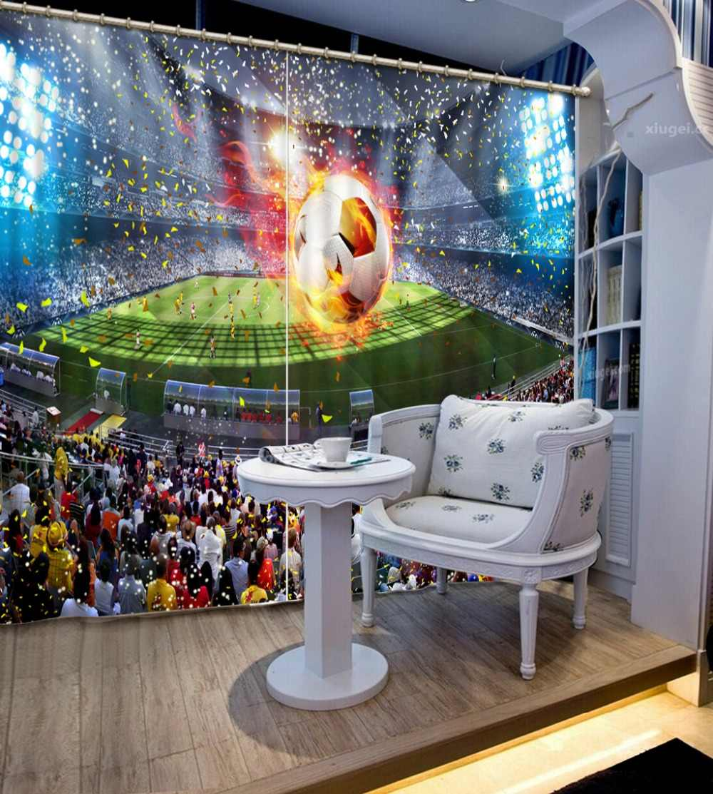 Football Field 3D Curtain Modern Luxury 3D Curtains Drapes For Bedroom Living Room Office Hotel Cortinas