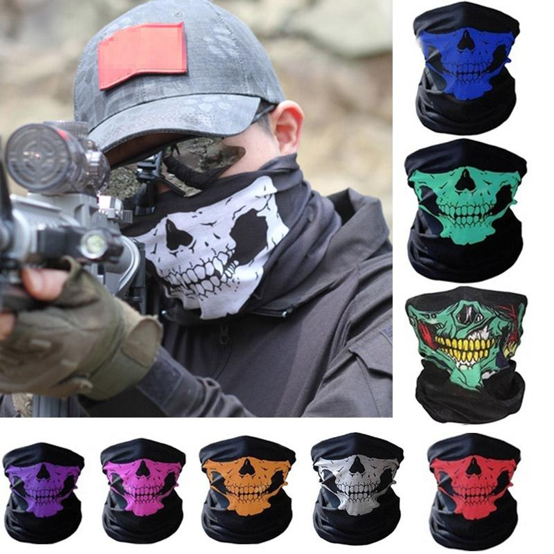 Full Face Motorcycle Face Shield winter Balaclava Face Mask Ghost Tactical Mask 3D Skull Sport Mask Neck Warm Windproof Outdoor image