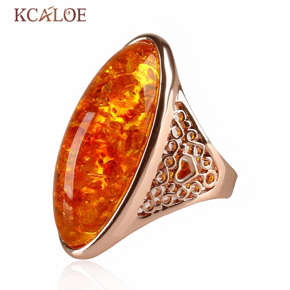 KCALOE Natural Stone Yellow stones Ring Rose Gold Color Jewelry Bagues Party Wedding Big Bohemian Precious Rings For Women