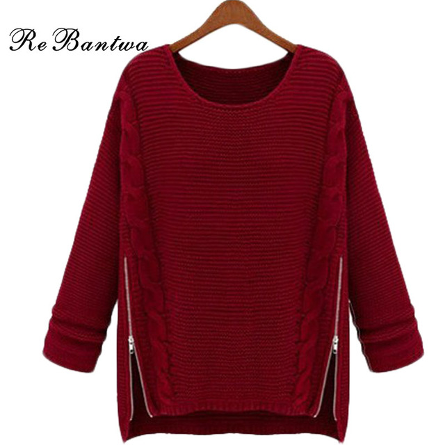 Autumn Winter New Style Women Pullover Knitted Sweater Plus Size Mixed Color O-Neck Fashion Zipper Decoration Thick Sweaters