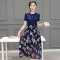 Новые летняя одежда женская одежда из воспитать в себе мораль показать тонкие печатные шифон long dress