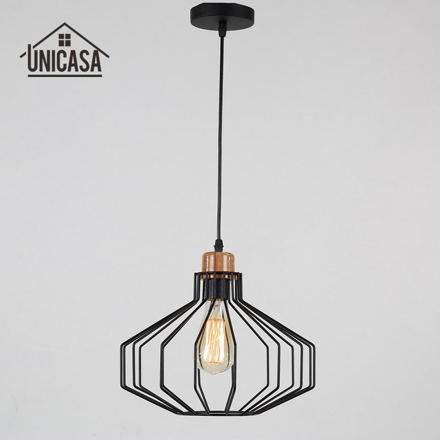 Wrought Iron Antique Pendant Lights Black Kitchen Island Hotel Office Led Lighting Modern Wooden Mini