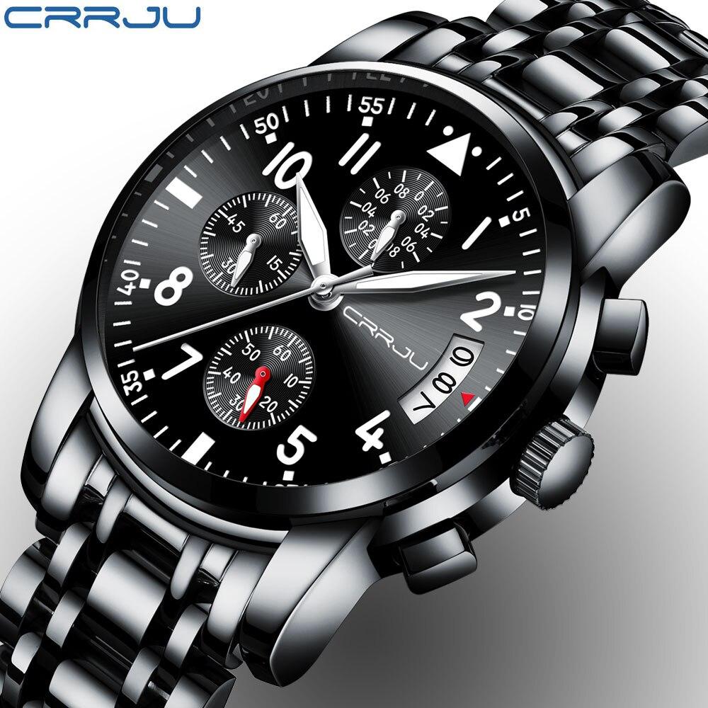CRRJU Sport Montre Hommes Quartz Militaire Occasionnel Montres Hommes de Chronographe Montre-Bracelet Armée Étanche Horloge Hommes Pleine Acier Heure