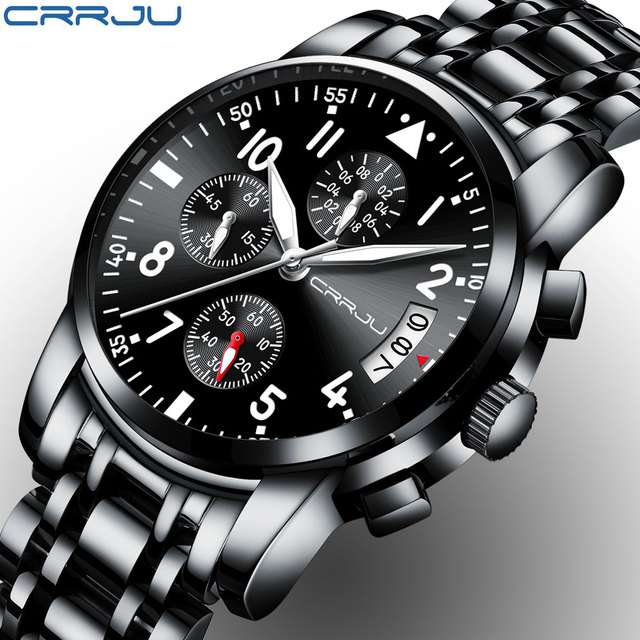 5723c04d183 CRRJU Sport Watch Men Stainless Steel Band Quartz Military Casual Watches  Men s Chronograph Calendar Wristwatch Waterproof Clock