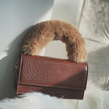 Design Plush Handle Chains Handbags Women Alligator Messenger Bag Ladies Crocodile PU Soft Fur Handle Shoulder Bag Small Purse