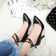 Women Pumps With Belt Buckle 2017 New Fashion Elegant European Style Pointy Toe Party Banquet Shoes Sexy Footwear Discount