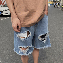 Short Jeans Men Fashion Summer New Wash Solid Color Straight Tube Casual Hole Denim Shorts Man Streetwear Hip Hop Loose Shorts bleach wash straight jeans