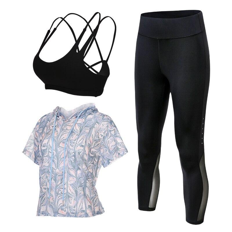 2017 à séchage rapide sport costumes femmes yoga fitness gym vêtements ensembles 3 pièces shorts de course + soutien-gorge + veste leggings pour les femmes costume de sport