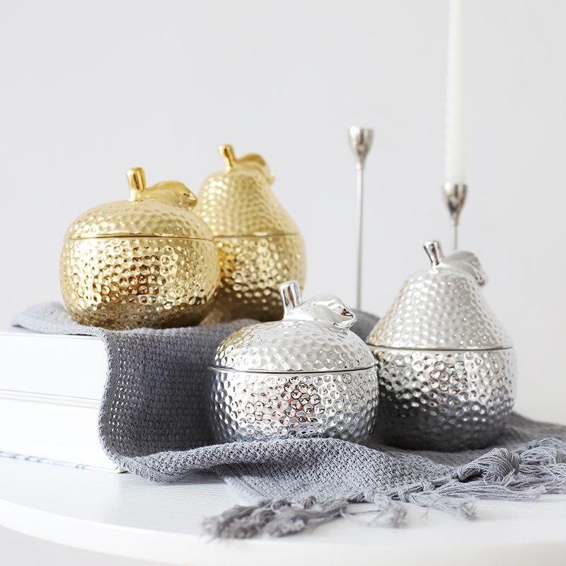 Créatif or ananas en céramique cachetage pot cuisine thé/sucre/épices stockage réservoir MINI boîte à bijoux maison stockage Decore pour cadeaux|Bouteilles  Bocaux et Boîtes| |  -