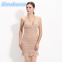 High Quality Womens Dress Summer 2018 Sexy V Neck Backless Women Sundress Party Club Mini Sheath Pack Hip Tube Dresses Vestidos
