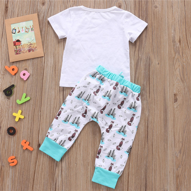 2 Pieces Cute Animal Fox T-shirt and Pants Set for Baby Boy and Girl