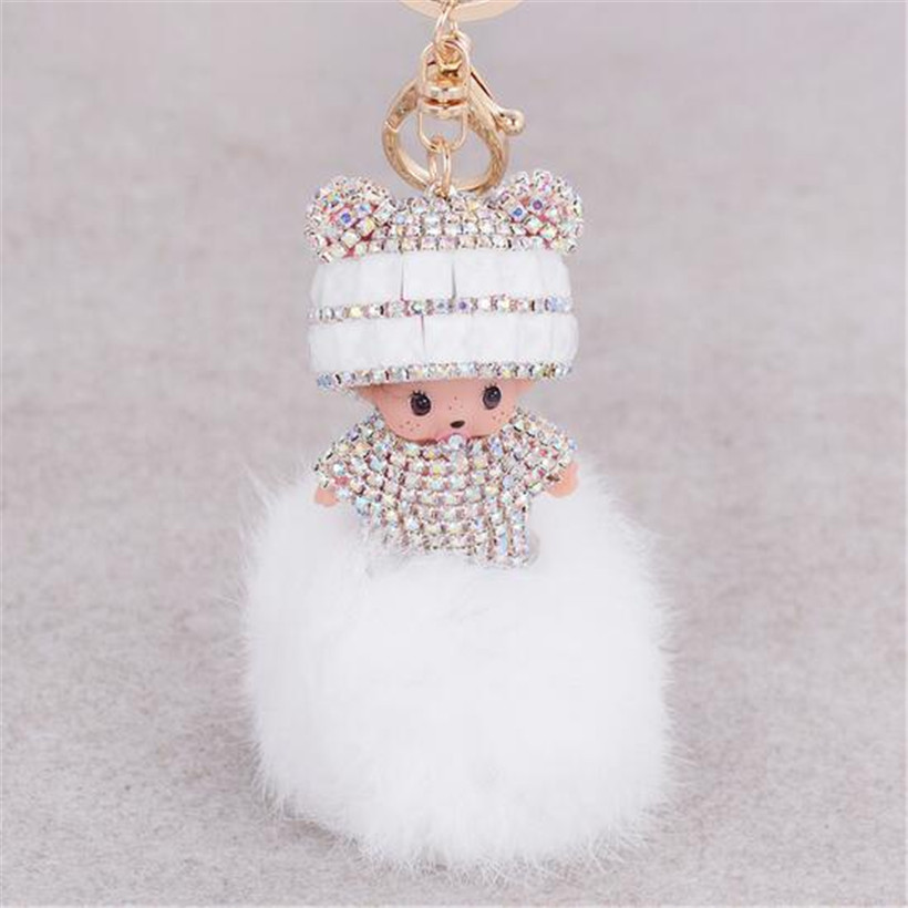 Monchichi key chain women bag accessories novelty items fur pom pom font b keychain b font