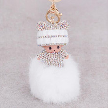 Monchichi key chain women bag accessories novelty items fur pom pom keychain monchhichi dolls sleutelhanger fur pompon keyring