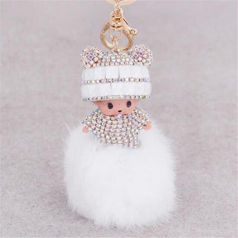 Monchichi key chain women bag accessories novelty items fur pom pom keychain monchhichi dolls sleutelhanger fur