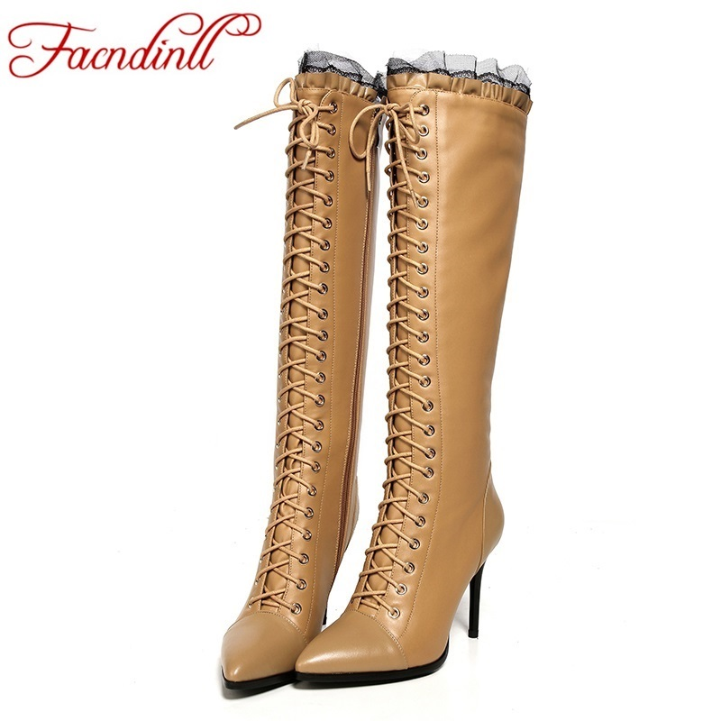 ФОТО fashion pointed toe lace up ruffles winter women knee high boots soft leather fashion thin high heels new female boots plus size
