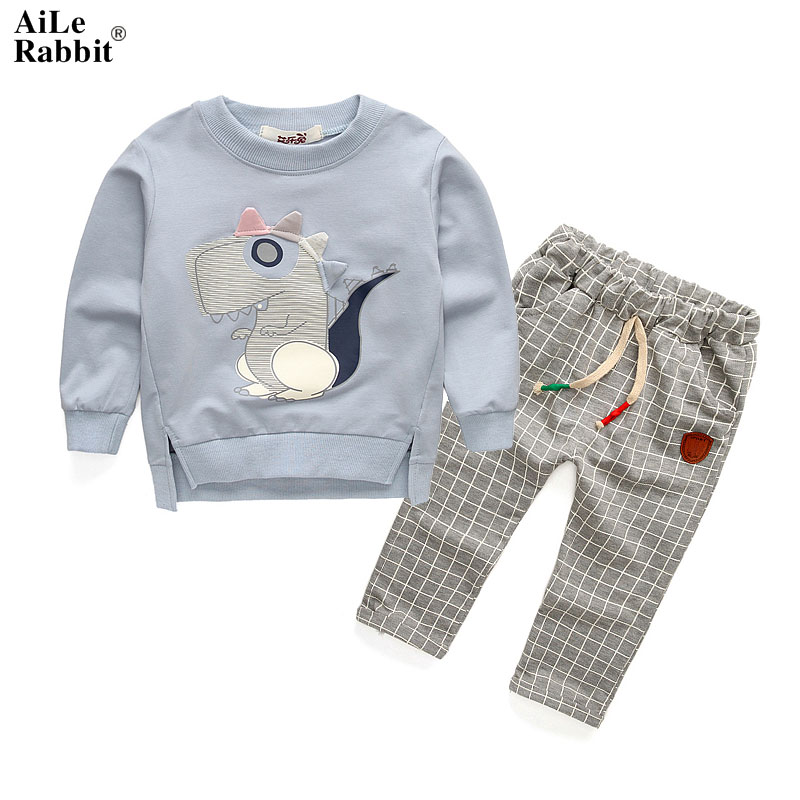 AiLe Rabbit 2017 Spring Autumn Kids Cartoon Banner Dragon Clothing Set Boy and Girl Casual Long Sleeves T-shirt+plaid Pants 2pcs aile rabbit summer 2016 new baby boy pattern rabbit toddler plaid kids clothes children clothing set