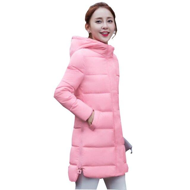 Осень зима новый средней длины куртка пальто женщин тонкий с капюшоном вниз хлопка-ватник женский куртка повседневная плюс размер верхняя одежда kp0767