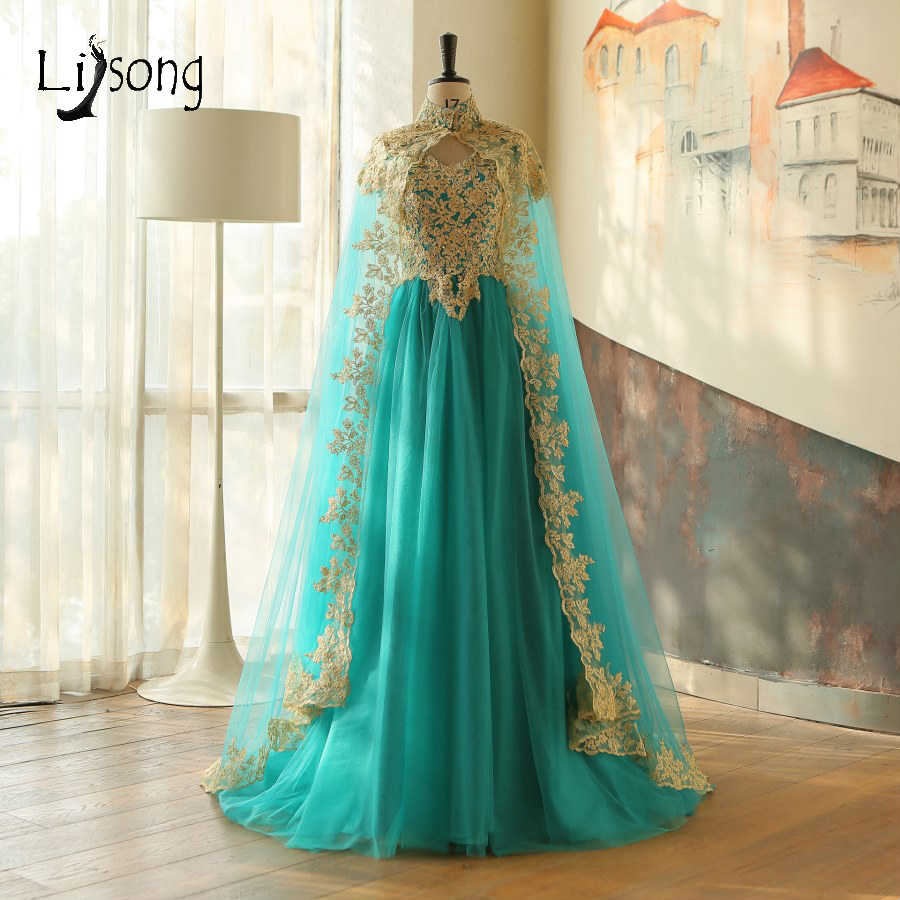 muslim 2 pieces evening dresses with cloak gold appliques