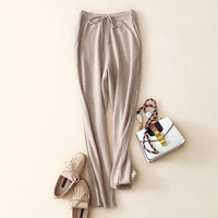 Высокое качество 100% кашемировые брюки для Для женщин Свободные карандаш осенние повседневные эластичные Для женщин брюки с карманом