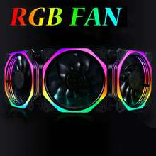 RGB computer case cooling fan Computer Case PC Cooling Fan RGB Adjust LED 120mm Quiet computer Cooler Cooling RGB Case Fan CPU(China)