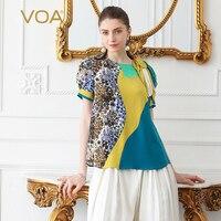 VOA шелк футболка плюс Размеры 5XL Для женщин Топы Harajuku пуловер Повседневное футболка Boho печати Haut Femme лето взлетно посадочной полосы короткий
