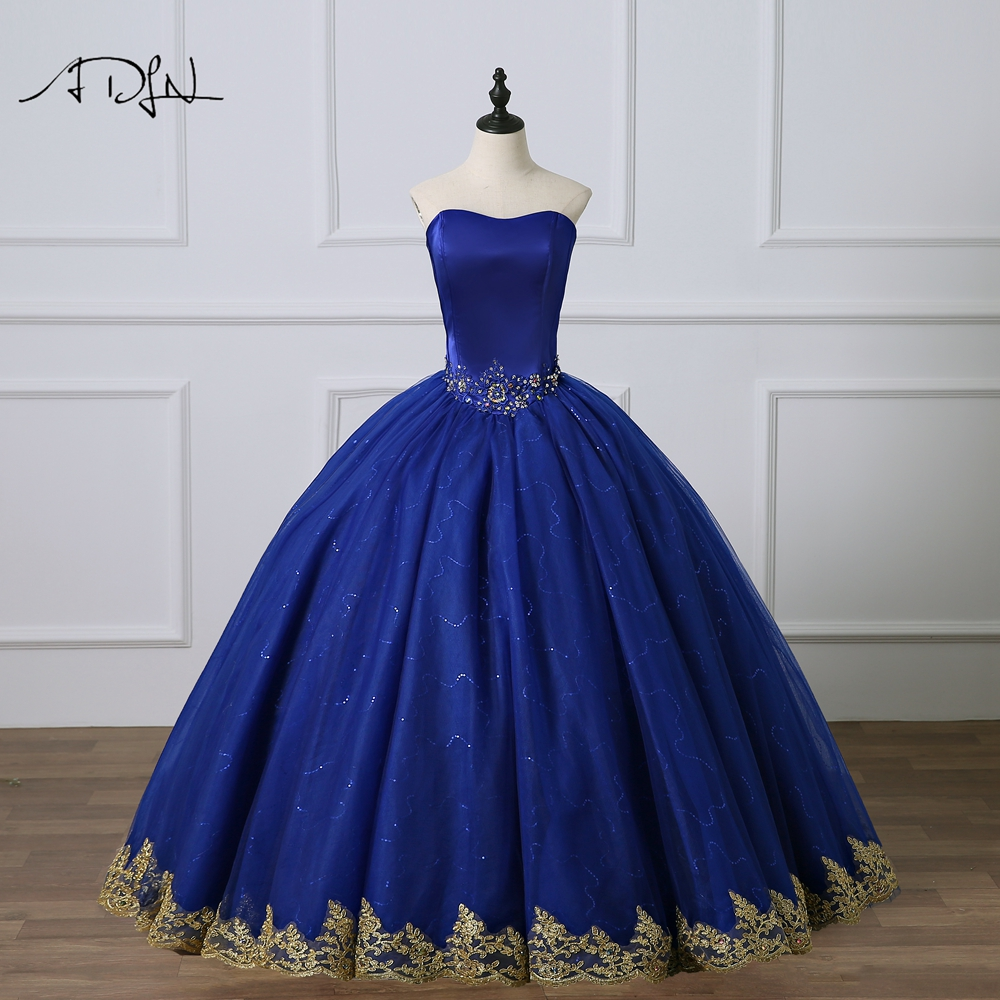 ADLN Simple Royal Blue Quinceanera Dresses with Gold Appliques Sweetheart Tulle Masquerade Debutante Gown Sweet 15
