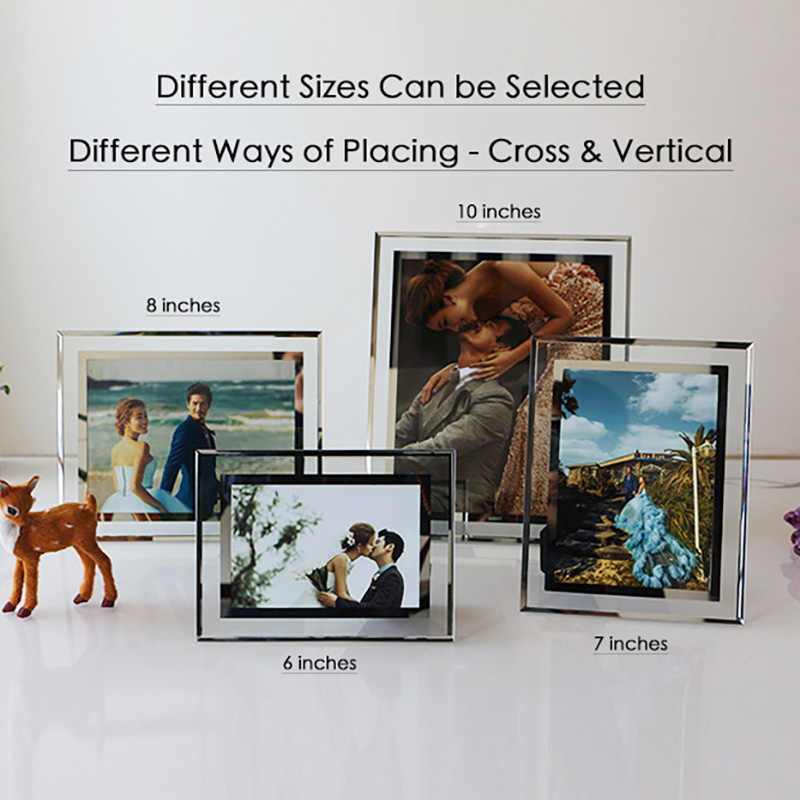 2019 High Quality Glass Crystal Photo Frame 5 6 7 8 10 Inches Cross and Vertical Display Home Decor Picture Frames  Free Ship