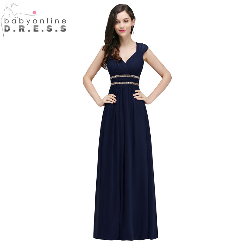Babyonlinedress Beaded Chiffon Bridesmaid Dresses 2018 Sexy Open Back Beach Wedding Party Dress Robe Demoiselle D'honneur