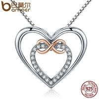 BAMOER Autentyczne 925 Sterling Silver Elegancki Nieskończoność Miłość Double Heart Wisiorek Naszyjniki dla Kobiet Biżuterii Prezent SCN121