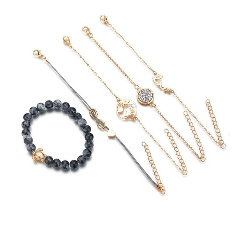 Chain & Link Bracelets Set Of Ladies Alloy Bracelet Love 8 Letters Love English World Map Turtle Bracelet Five-piece Fashion Jewelry V005f3 Bracelets & Bangles Humble 5 Pieces