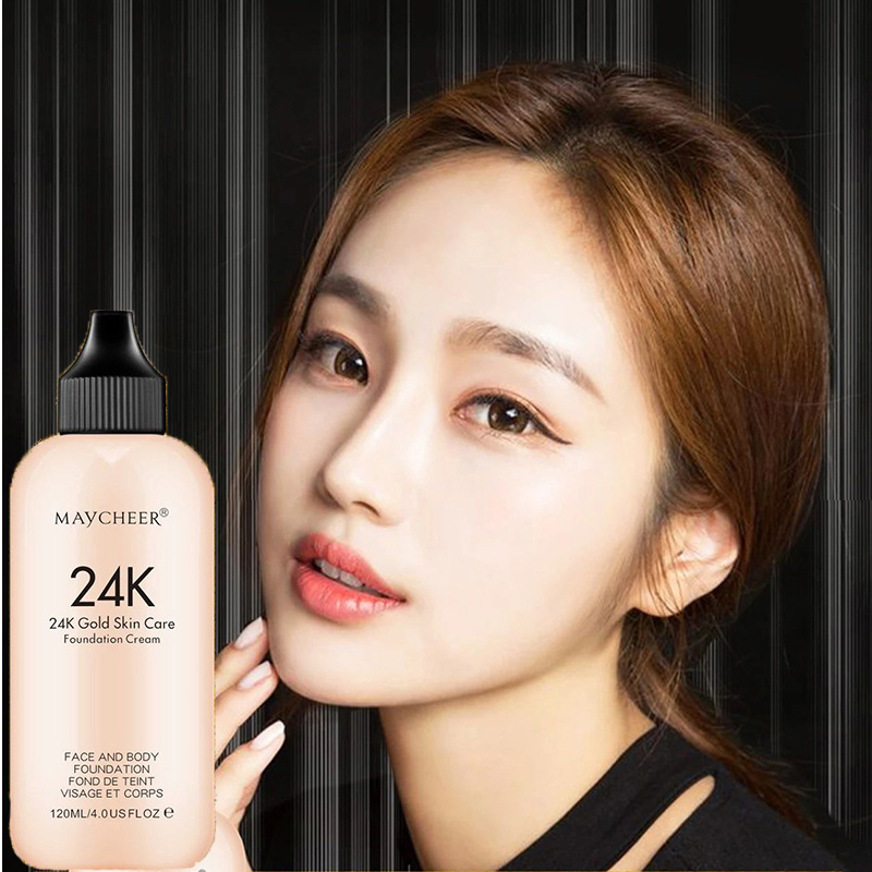 24K Moisturizing Long Lasting Liquid Face Foundation Makeup Face Coverage Naturally Concealer Oil-controling Lightfeel Cream 1