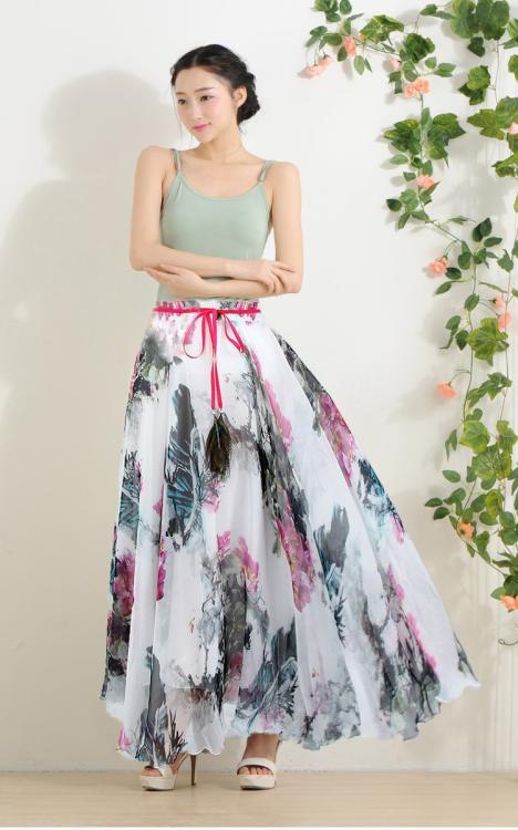 Summer Women's Bohemian Style Floral Print Long Chiffon Beach Skirt - Victorian Dress | Prom Party Dress| Wedding store