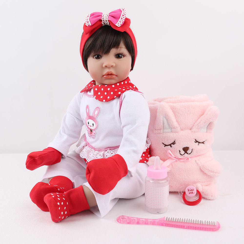 22inch Silicone Reborn Girl Baby Doll vinyl newborn bedtime play house toys princess toddler baby Doll Xmas Present brinquedos22inch Silicone Reborn Girl Baby Doll vinyl newborn bedtime play house toys princess toddler baby Doll Xmas Present brinquedos