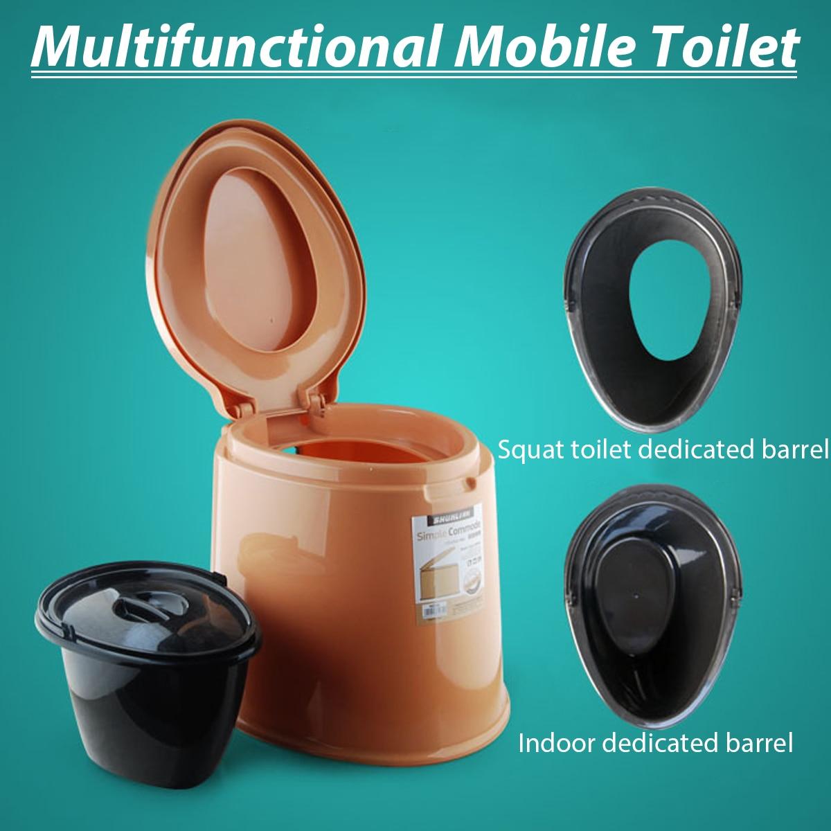 6L Portable Toilettes Toilettes Camp De Camping En Plein Air Outil Blanc/Kaki