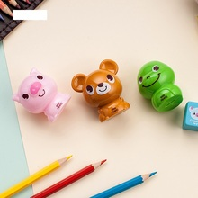 12 pcs/Lot Mini standard pencil sharpeners Cartoon  bear snake pig pen Kawaii Stationery items School supplies FB463