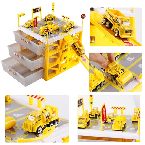 Kids Car Track Toys Mini Parking Lot 6PCS Cars Storage Matchbox DIY Road Signs Slot Car Model Toys Carport Garage Toy For Kids Multan