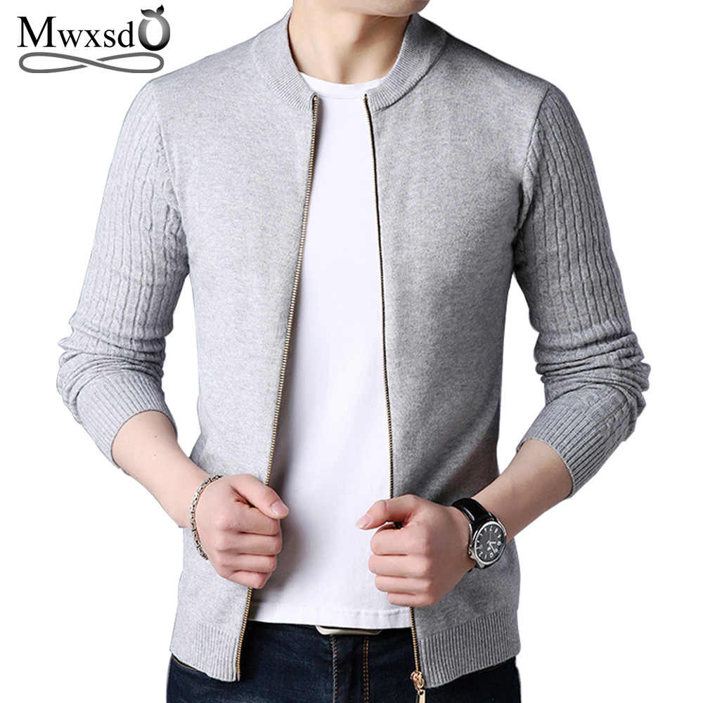 Mwxsd Brand autumn men s casual zipper cardigan sweater men solid Cashmere  knitted sweater jacket male pull b4ff014c288a