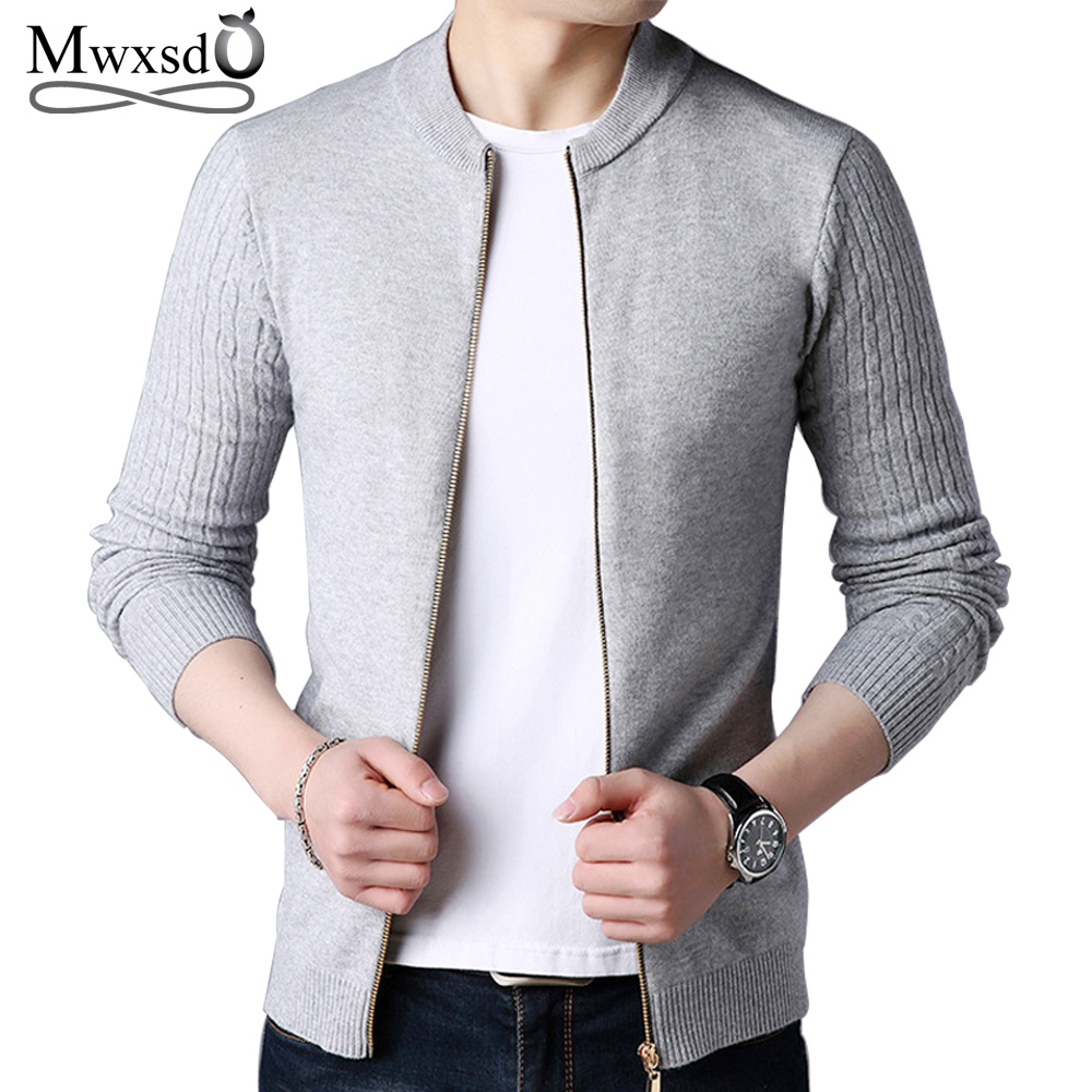 Mwxsd Brand Autumn Men's Casual Zipper Cardigan Sweater Men Solid Cashmere Knitted Sweater Jacket Male Pull Homme Cardigan