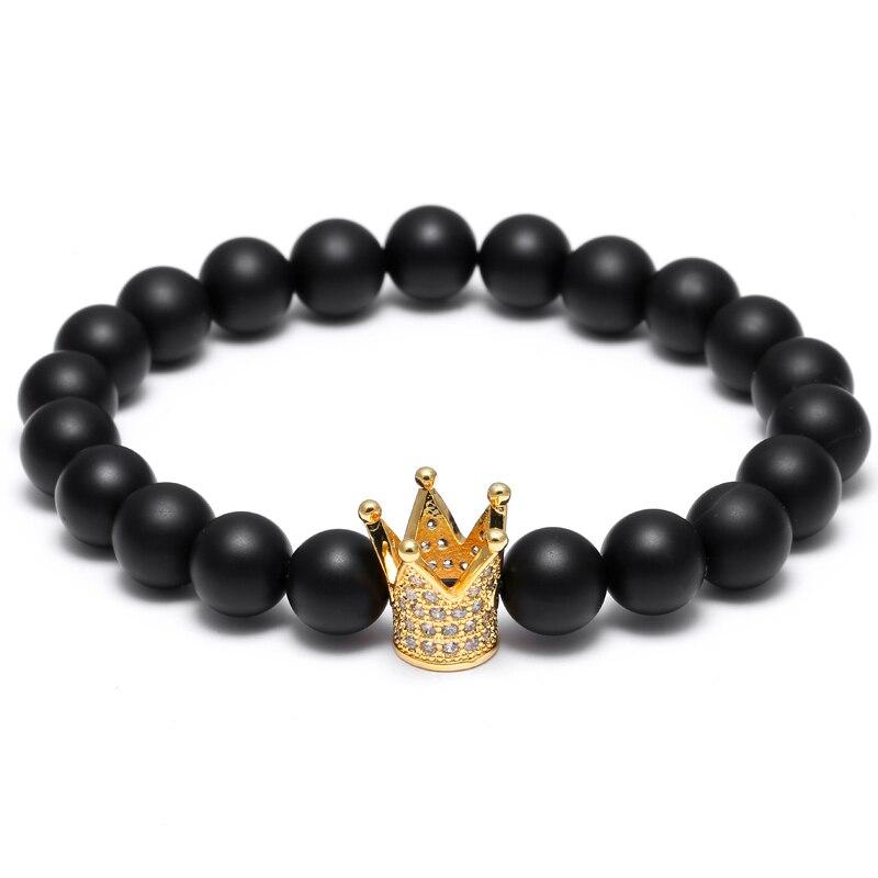 Mcllroy Coroa Imperial Charme Pulseiras Contas de Pedra Naturais Para A Jóia Dos Homens Dos Homens Homens jóias pulseira Pulseras Mujer Leão Sparta