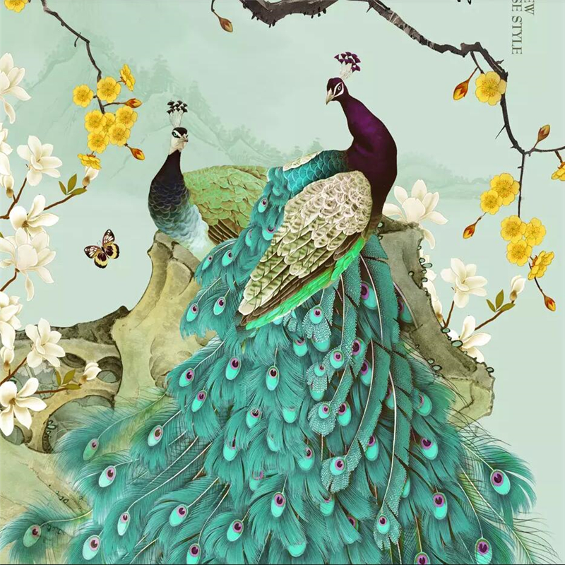 Wellyu New Chinese Style Pen Blue Peacock Flower Bird Porch Background Wall Decoration Painting Custom Large Mural Wallpaper