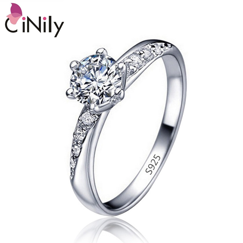 Cinily Fashion Jewelry Wedding-Ring White-Stone Round Silver-Plated Size-6-9 Cubic-Zirconia
